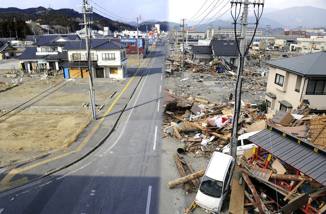 This combination of pictures shows the view of a tsunami hit area of Ofunato, Iwate prefecture on March 14, 2011 (right side) and the same scene as it appears on January 15, 2012 (left side). March 11, 2012 will mark the first anniversary of the massive tsunami that pummeled Japan. (Toshifumi...