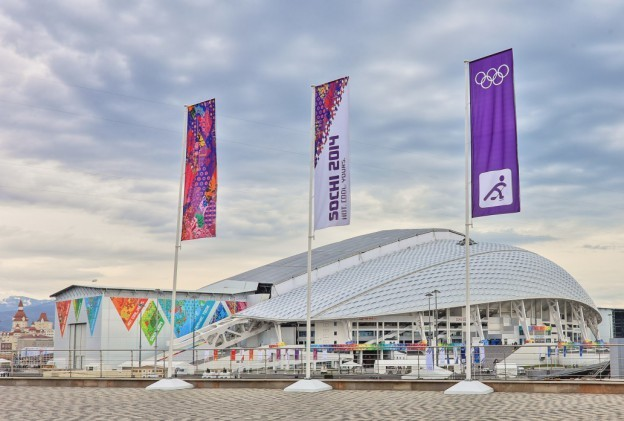 Fisht Olympic Stadium is pictured in the new Sochi Olympic Park. (Courtesy of Populous, via WBUR)