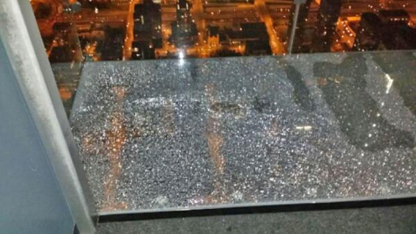 The shattered protective coating of the Skydeck's floor. (Photo courtesy Alejandro Garibay via NBC Chicago)