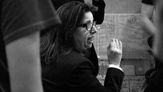 Diane Lewis at a Cooper Union Design IV review, Fall 2008. Photo via cooper.edu.