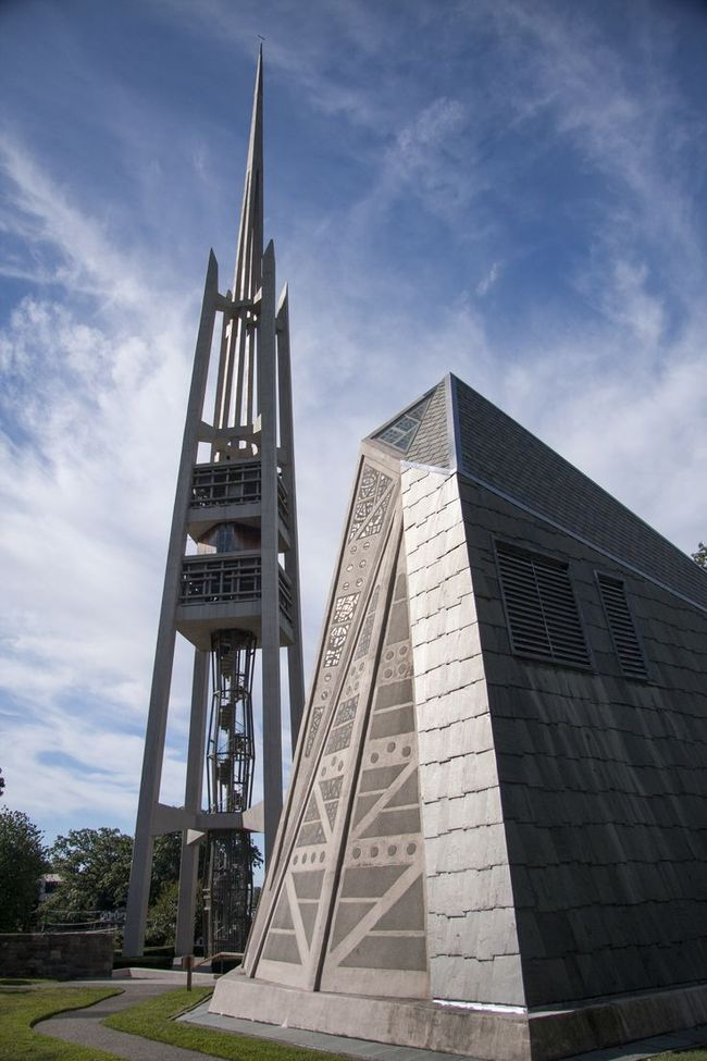 The Fish Church and Carillon Tower. Photo by Robert Gregson.