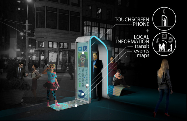 Winner of the Creativity Award at the Reinvent Payphones Design Challenge: FXFOWLE's concept