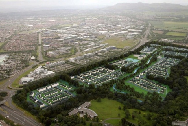 Image: A rendering of the plan for the first phase of the district (EMA Architecture + Design). Image via scottishconstructionnow.com