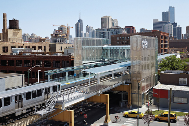 Divine Detail Honor Award: CTA Morgan Station in Chicago, Illinois by Ross Barney Architects. Photo: Kate Joyce, Kate Joyce Studios.