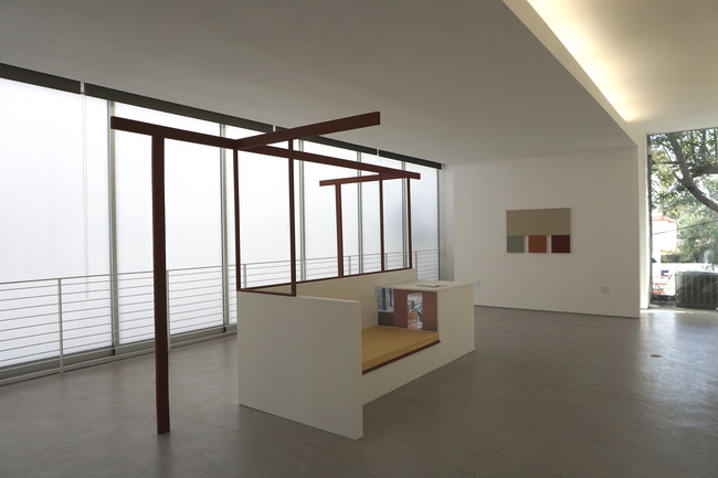 """Installation view of """"Past Future Housing"""" at the MAK Center's Garage Top. Image by author."""