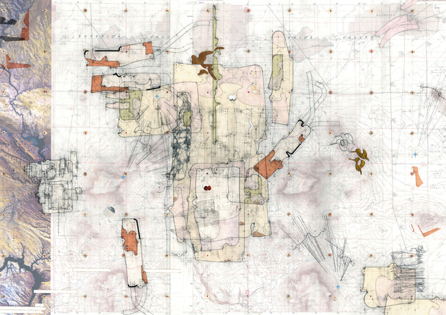 "'Fast Twitch', Desert House Site Plan v.01 Drawing made: 2004 Drawing size: 24"" x 36"" Materials: Mylar, graphite, tape, found imagery. transfer letters + transfer film, cut paper. © Perry Kulper"