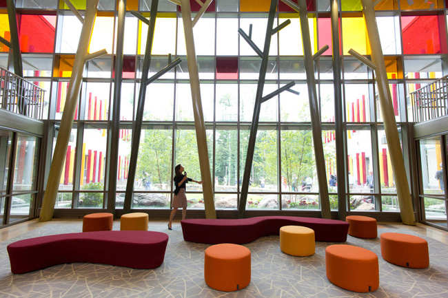 Lobby of the new Sandy Hook Elementary School. Photo: Mark Lennihan/AP