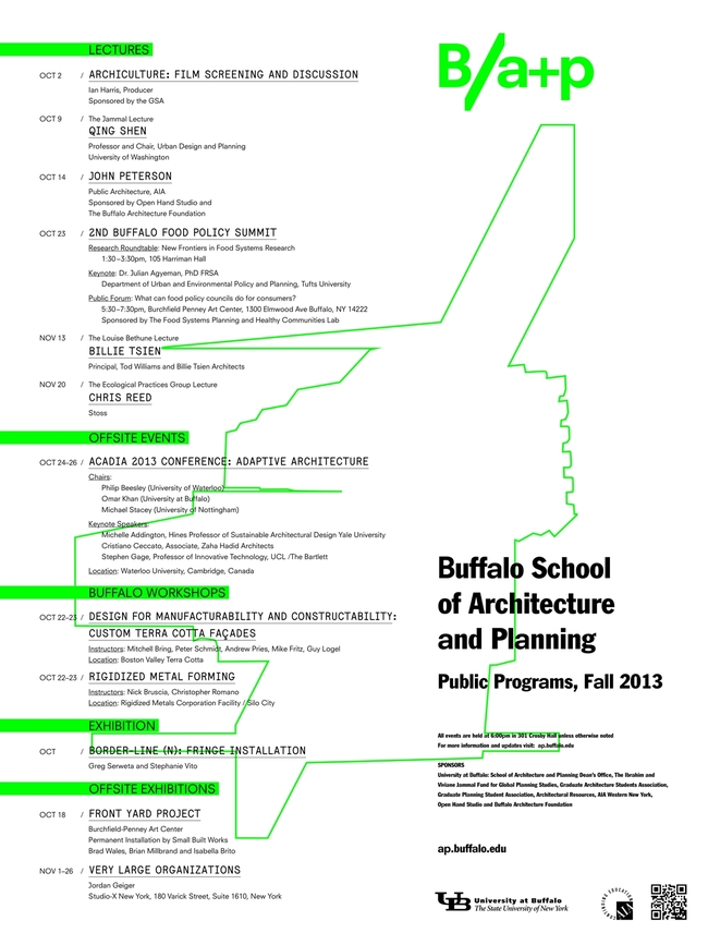 Poster for Fall '13 Public Programs at the University at Buffalo School of Architecture and Planning. Image courtesy of University at Buffalo.