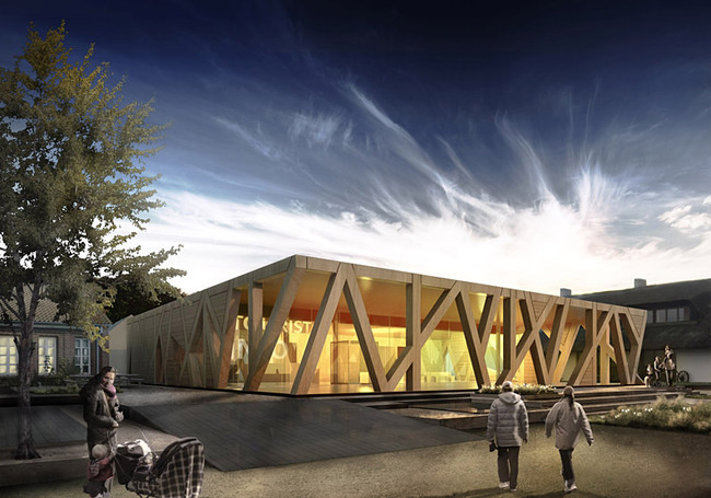 Exterior rendering of the competition-winning design for the new Rebild information portal by CEBRA, HP Byg, Viggo Madsen, and Elisabeth Topsøe (Image: CEBRA)