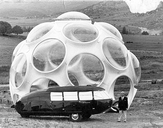 1980 - Buckminster Fuller with Fly's Eye dome and Dymaxion Car in Snowmass Colorado
