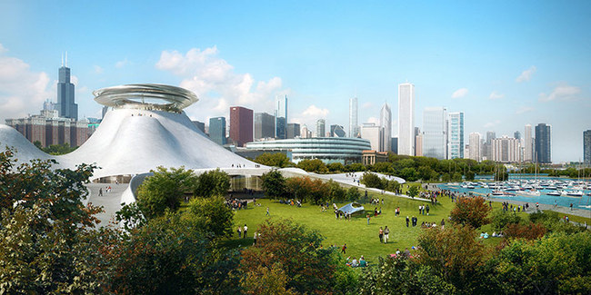 """South View: Rising up from the land and crescendoing to a """"floating"""" disc, the tallest points of the Lucas Museum will feature an observation deck, providing visitors with stunning views of both Chicago and Lake Michigan. Image courtesy Lucas Museum of Narrative Art"""