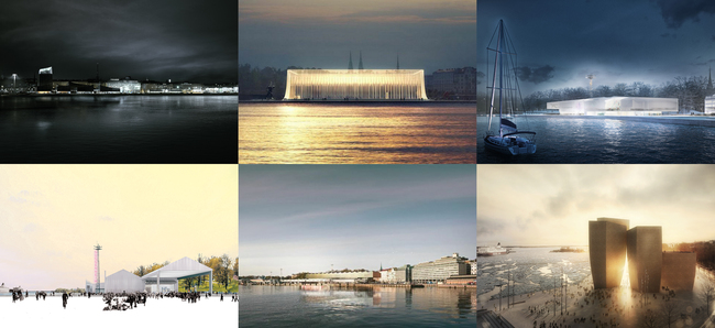 The six shortlisted designs in the hugely popular Guggenheim Helsinki architectural competition. (Image via designguggenheimhelsinki.org)