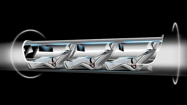 The Hyperloop proposed by billionaire Elon Musk would work somewhat like a pneumatic delivery system, shooting passengers in capsules through a tube. (AP) Image via latimes.com.