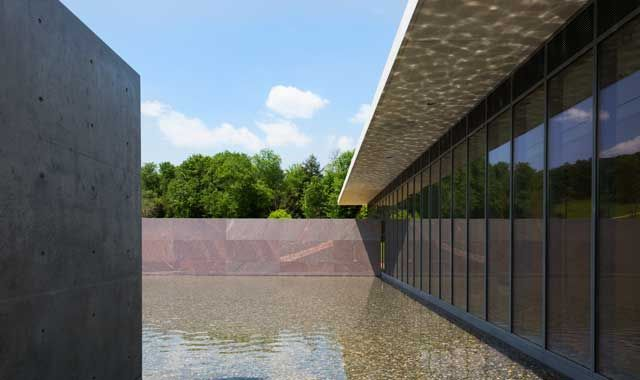 A detail of the newly re-designed Clark center and reflecting pool. (Blouin ArtInfo; Courtesy Clark Art Institute)