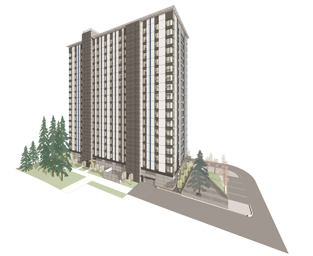 Rendering of Acton Ostry Architects' 18-story Brock Commons wooden skyscraper for Vancouver. (Image via the architects' website)