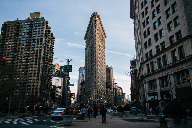 A view of the hyper efficient, odd-lot shaped, landmark Flatiron Building. Image: therisenyc.com