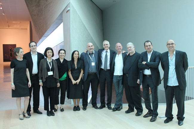 From left to right: Inge Rocker, Jesse Reiser, Nanako Umemoto, Katy Barkan, Sylvia Lavin, Dan Sherer, Scott Cohen, Ben Van Berkel, Jeff Kipnis, Inaki Abalos, Eran Neuman; Photo: Preston Scott Cohen