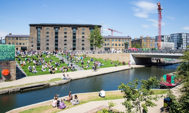 The Granary Square 'Pops' in London's King's Cross is one of the largest open-air spaces in Europe. Photograph: John Sturrock for the Guardian