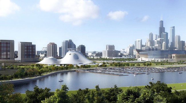 Rendering of The Lucas Museum of Narrative Art. Image via lucasmuseum.org.