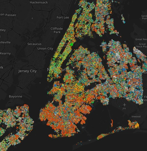 "Jill Hubley's ""New York City Street Trees by Species"" map. (Image via citylab.com)"