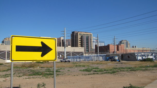 A proposed development in Phoenix would link the polished towers of downtown with the traditionally poor Grant Park neighborhood. (Peter O'Dowd/Marketplace)