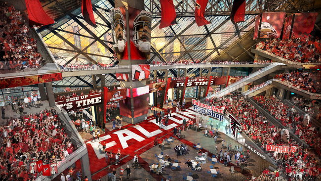 A rendering of the planned new Falcons stadium. (Georgia World Congress Center Authority via The Atlantic Cities)