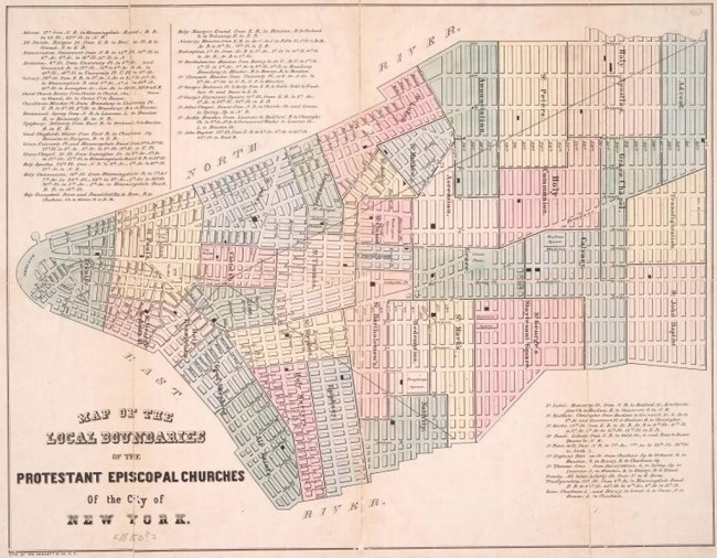 Map of the local boundaries of the Protestant Episcopal Churches of the City of New York | W. Endicott & Co. (lithographer), 1850 (via urbanomnibus.net)