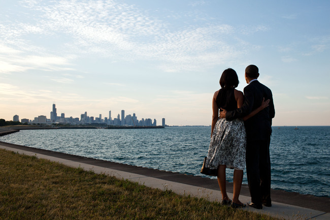 Michelle and Barack Obama looking at Chicago, where the presidential center will be located. Image via Wikipedia.