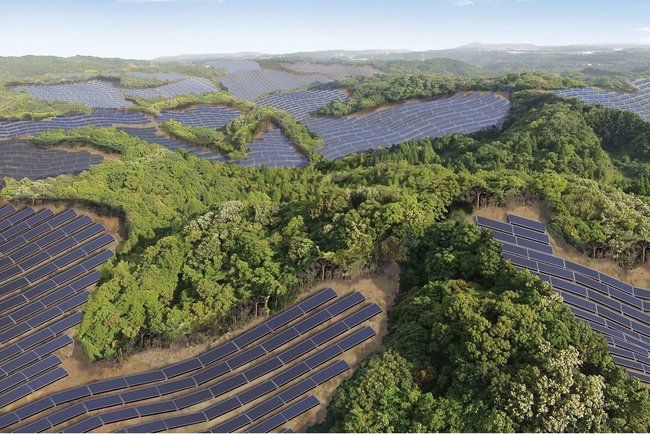 Rendering of the solar power plant in Kagoshima prefecture, image via businessinsider.com.
