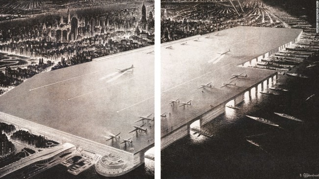 "The 1945 proposed ""Rooftop Airport"" by William Zeckendorf, an above-water terminal that would have stretched from 24th to 71st street along the Hudson River and provided the same capacity as La Guardia airport. Image: Kickstarter"