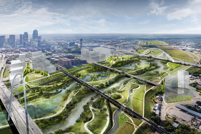 Michael Van Valkenburgh Associates' revitalization plan for the Dallas Trinity River Corridor aims to create America's largest urban nature park. (Image: Michael Van Valkenburgh Associates, via thetrinitytrust.org)