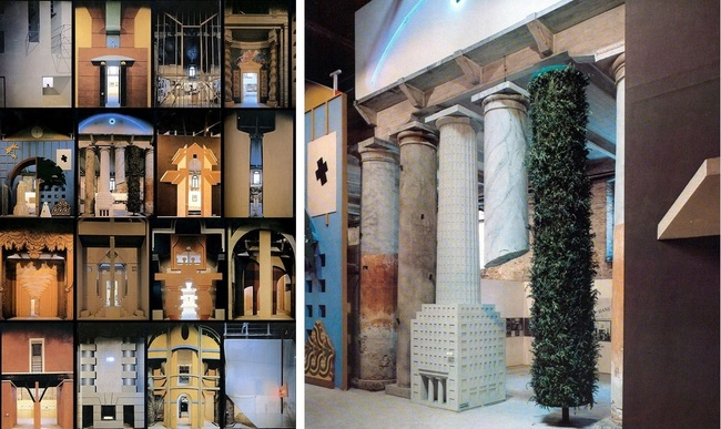 From left to right: Strada Novissima Venice Biennale, Italy, 1980: Ten of a total of twenty facades that were constructed in cardboard, wood, papier maché and plaster; Hans Hollein facade, from the Strada Novissima installation.