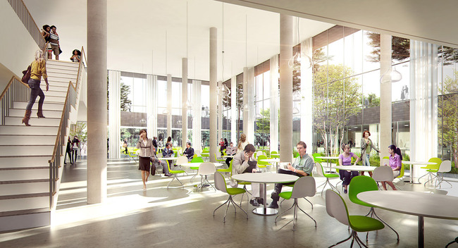 Rendering, canteen (Illustration: Henning Larsen Architects)