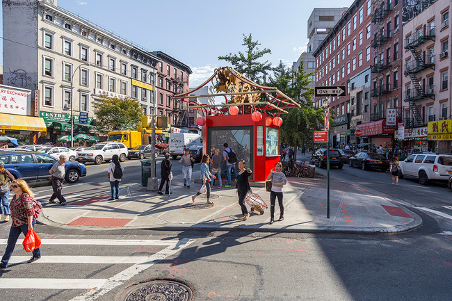 Canal Street Triangle gateway in Chinatown, New York City. Photo credit: Sigurjon Gudjonsson, NYC DOT.