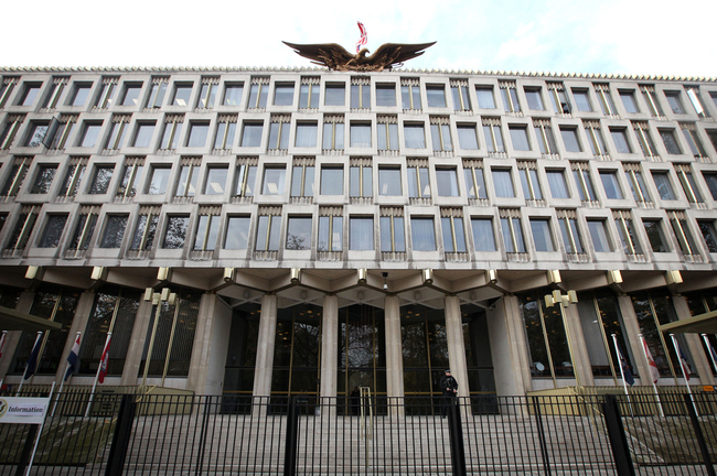 The current U.S. Embassy in central London was designed by Finnish-born American architect Eero Saarinen in 1960. Saarinen also designed the St. Louis Gateway Arch. (Shaun Curry/AFP/Getty Images via npr.org)