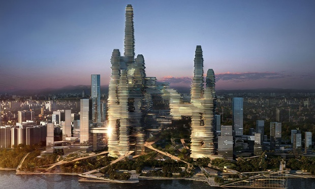The proposed Cloud Citizen complex in Shenzhen includes plazas and sky bridges to connect its towers (The Guardian)