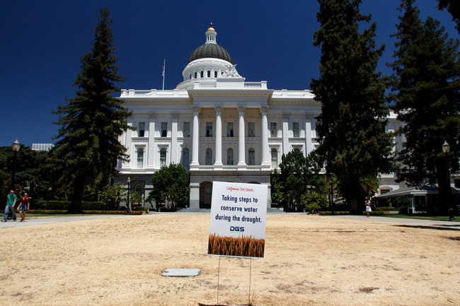 Sacramento Capitol during the drought (7/2014). Image via flickr/Kevin Cortopassi.