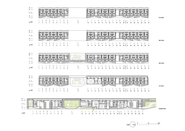 Floor plans, 1-5 (Image: OFIS Arhitekti)