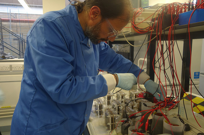 UWE's Professor Ioannis Ieropoulos, at work on a microbial fuel cell. Photo: UWE.