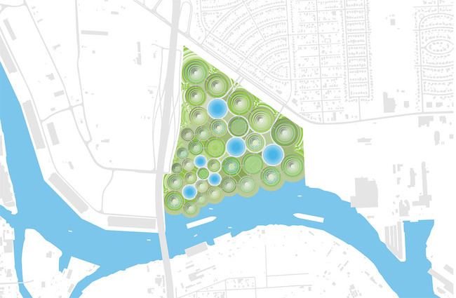The vision for the project after its final phase is of a new, highly green community which is driven by its adjacency to one of Houston's major water elements and its radical topography which redefines the city's landscape.