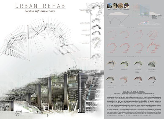Honorable Mention: Urban Rehab: Nested Infrastructures; Autor: Aisha Alsager and Joanne Hayek; University: Columbia University, GSAPP; Country: USA