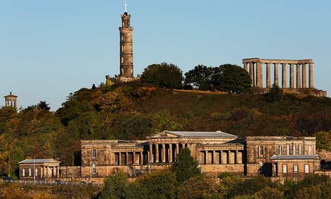 Calton Hill earned Edinburgh the nickname of The Athens of the North. Photograph: Murdo Macleod for the Guardian.