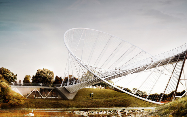 "The ""O"" bridge by Christ Precht of penda and Alex Daxböck - Proposal for Salford Meadows Bridge Competition."