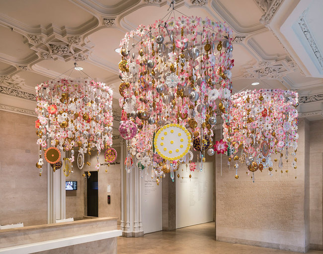 Installation view of Using Walls, Floors, and Ceilings: Beatriz Milhazes. The Jewish Museum, NY. Photo: David Heald.