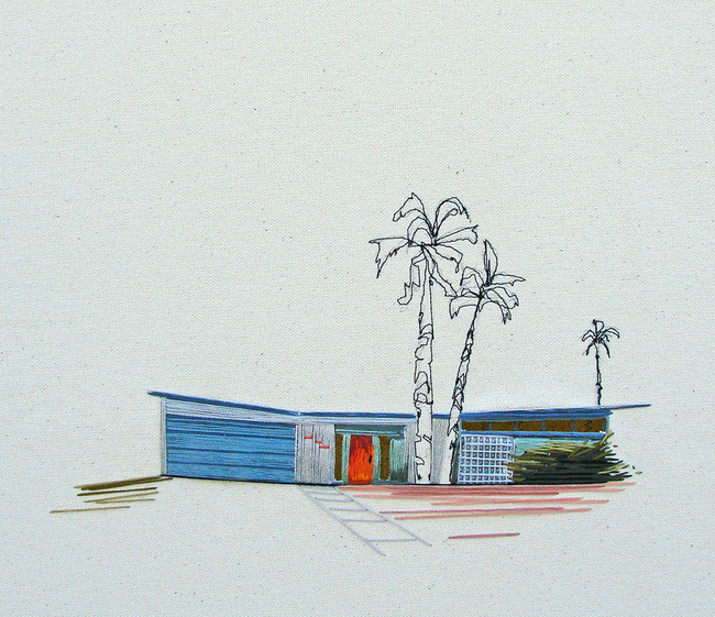 Modernism as craft: One of Stephanie K. Clark's many architecture-themed embroideries. (Image via thisiscolossal.com)
