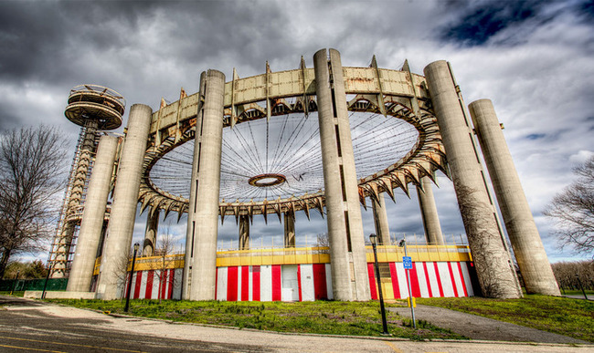 "The New York State Pavilion in the present day. Photo: Marco Catini, via ""Modern Ruin"" Kickstarter"