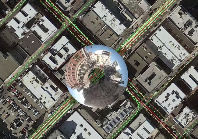 Inside Atlas, Google's map-editing program, operators can see where Street View cameras have captured images (colored dots), and zoom in with a spyglass tool. (via wired.com; Image: Google Maps)