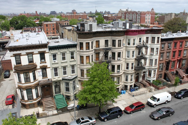 A row of townhouses in Bed-Stuy. Credit: WikiCommons