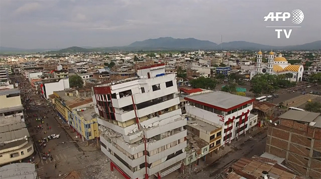 This drone footage shows the scope of destruction in Portoviejo, Ecuador after a devastating 7.8-magnitude earthquake hit the country's coastal region last Saturday. (Image: still from AFP video)