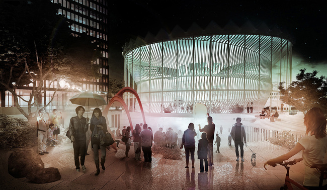 Rendering of MUS architects' 2013 vision for the Warsaw Rotunda building. Image courtesy of MUS architects.